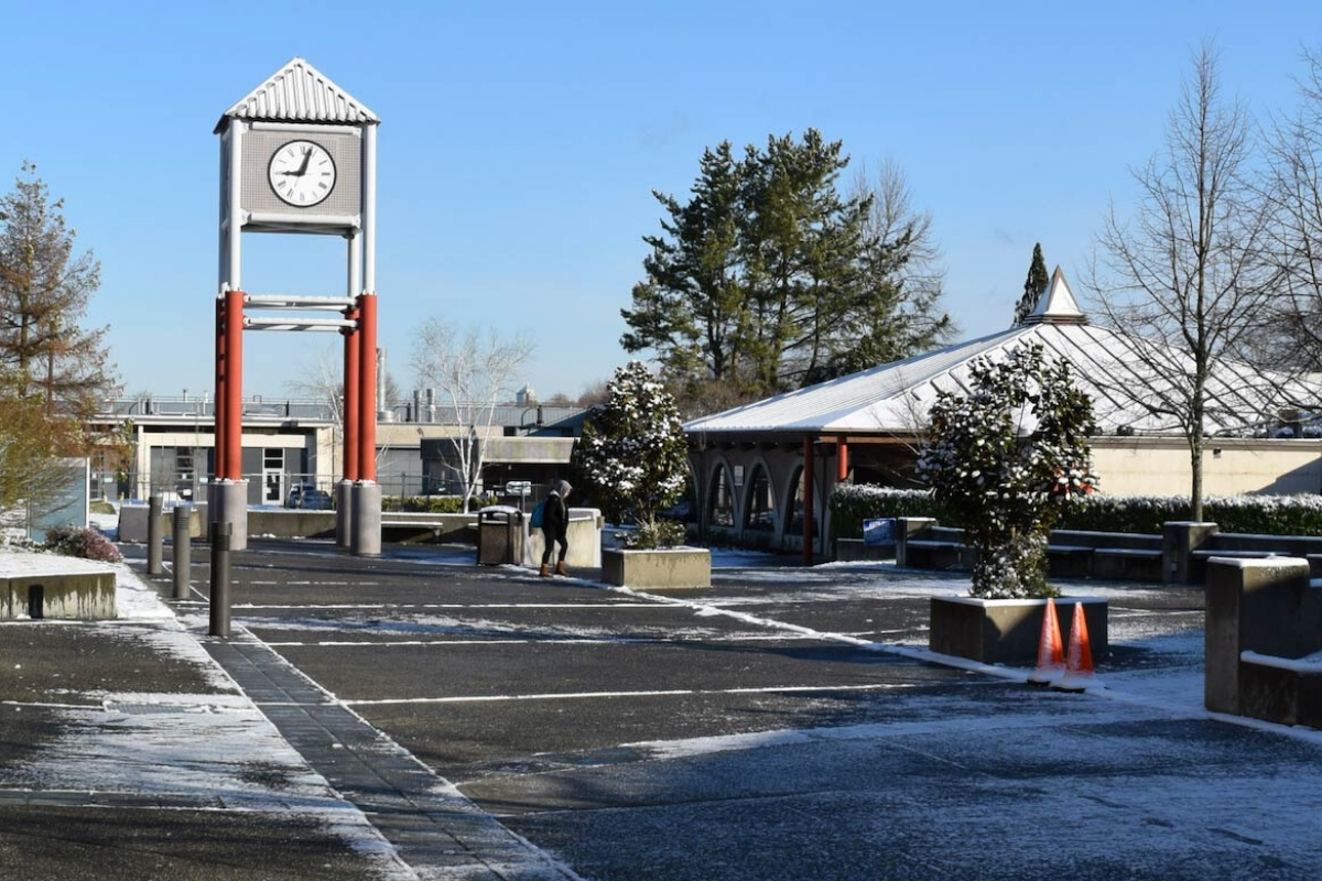 Clock Tower Plaza covered in snow